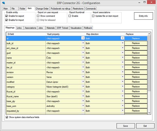 CS Connector - mapování položky